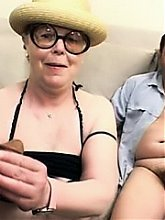 Nasty grandma Mrs Fire goes for a kinky gangbang party and experiences extreme fucking