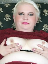 Experienced plumper Pamela flashes her sagged tits then gets double teamed by two guys