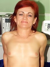 Redhead granny Steph starts teasing a cock and gets her pussy slammed in this XXX scene