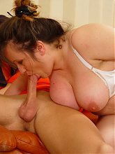 Horny mature fatty Tabea goes on all fours for doggy style fucking during a live webcam show